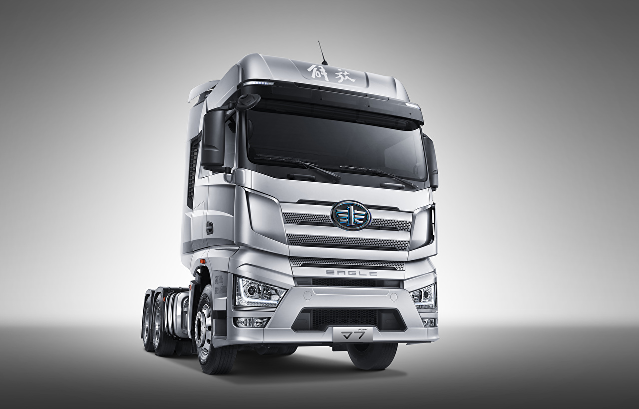 Image Trucks Silver color auto Gray background lorry Cars automobile
