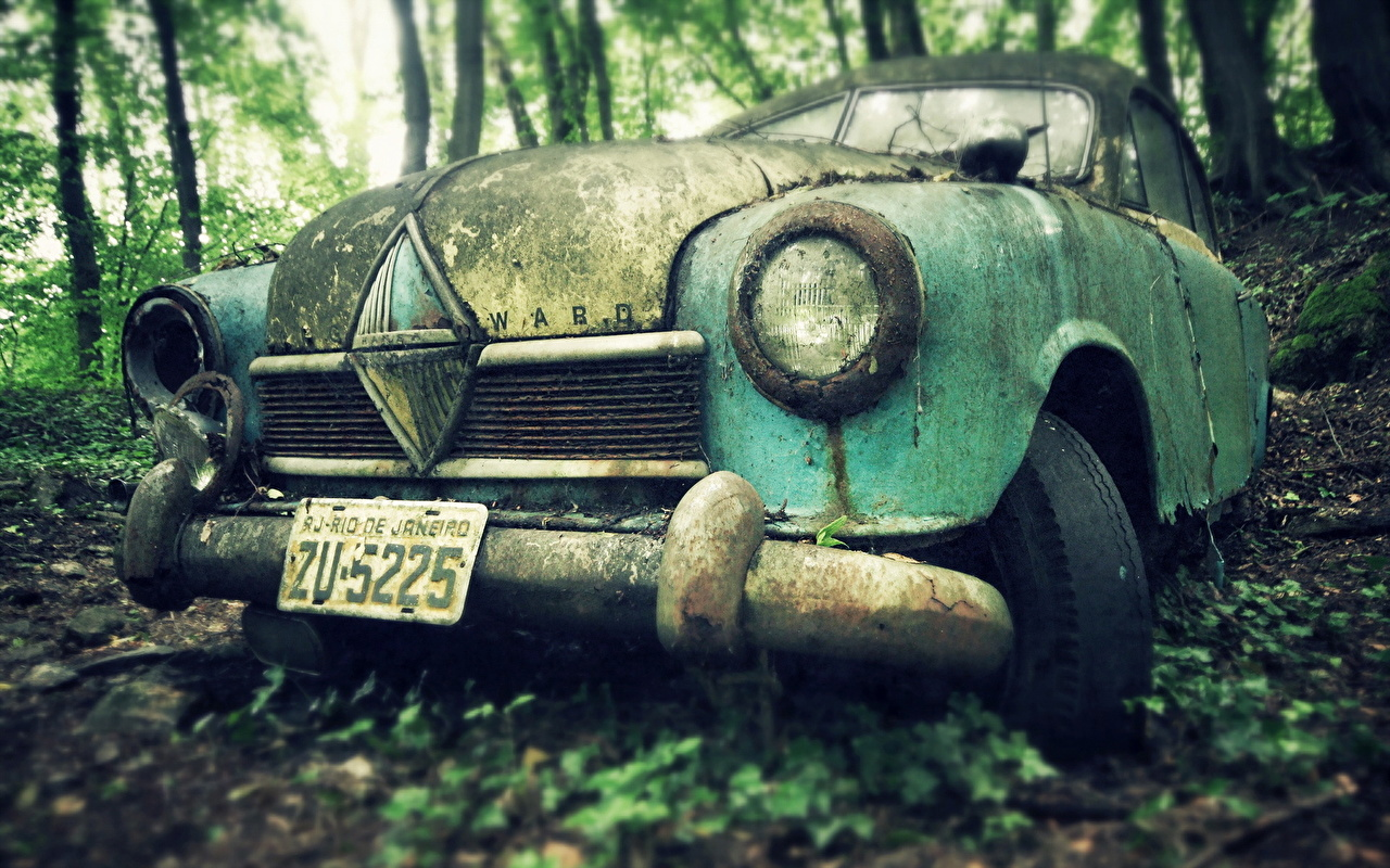 Photo Old Headlights automobile Cars auto