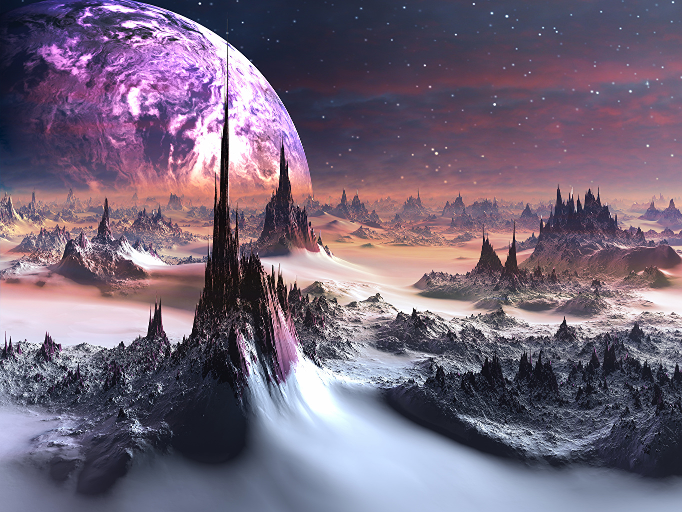 Picture Planets Surface of planets Space 3D Graphics planet