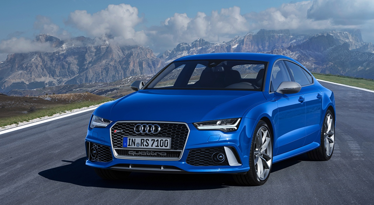 Photo Audi RS7, Sportback performance, 2015 Blue Front automobile Cars auto