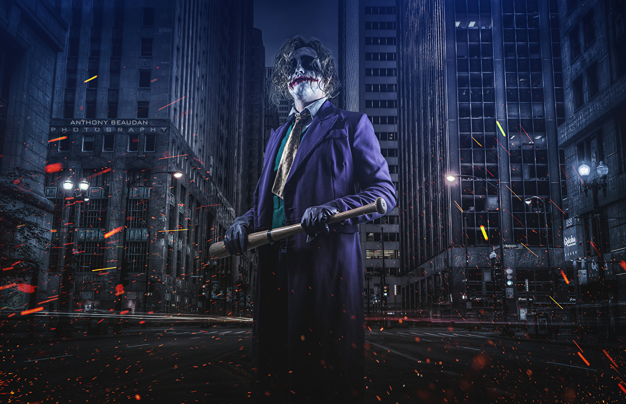 Images Batman - Movies superheroes Joker hero Gotham Joker Anthony Beaudan Fantasy Street Suit night time Cities Heroes comics Night