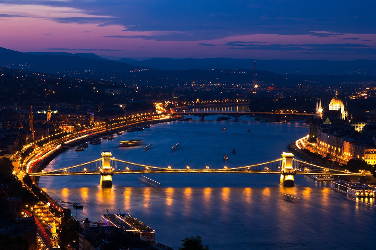 Pictures Budapest Hungary Danube, Chain bridge section Bridges river night time Cities Night Rivers