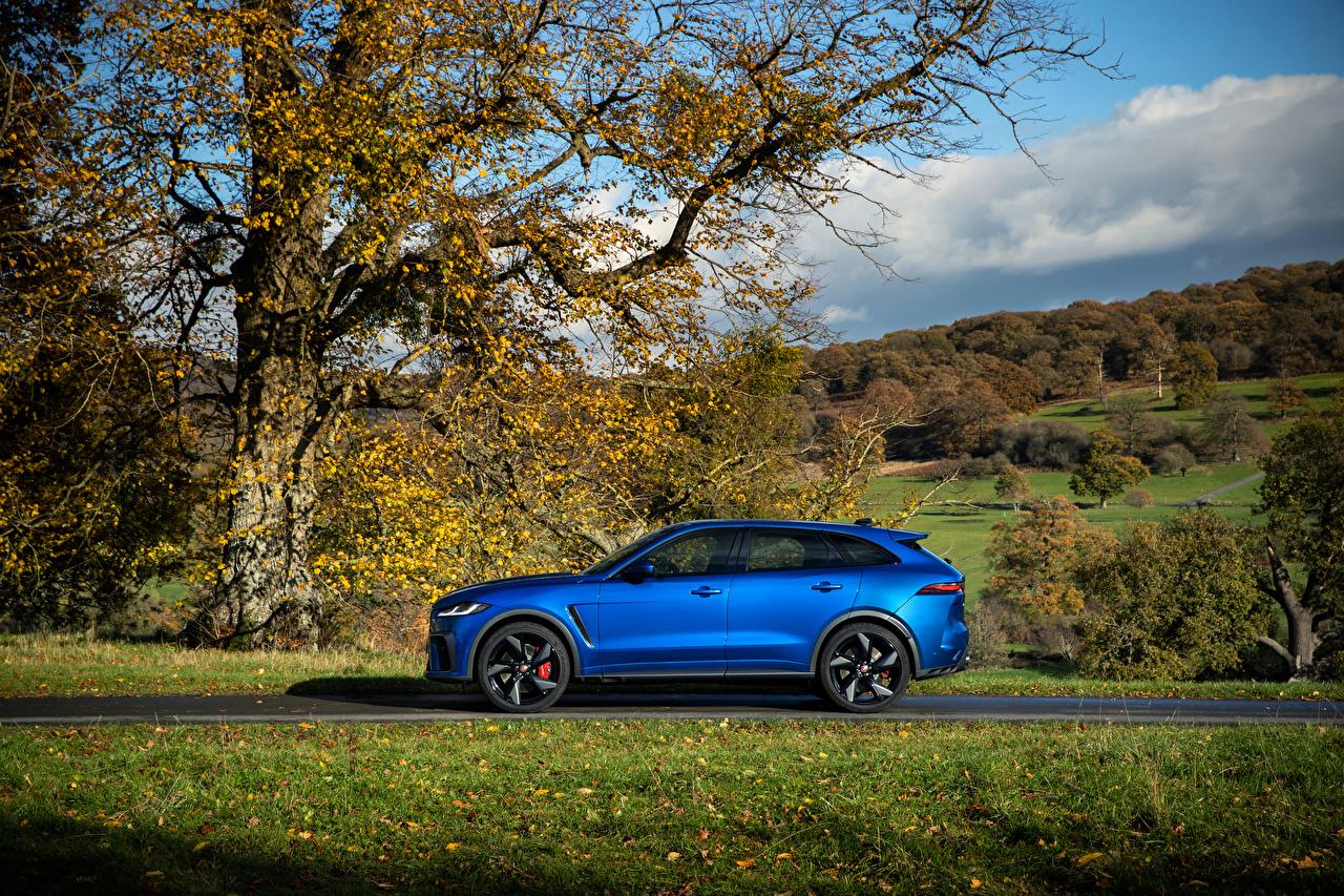 Picture Jaguar Crossover F-Pace SVR, 2020 Blue Side Metallic automobile CUV Cars auto