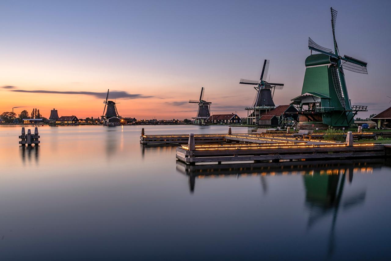 Image Netherlands Mill Zaanse Schans Nature Reflection Evening windmill windmills reflected