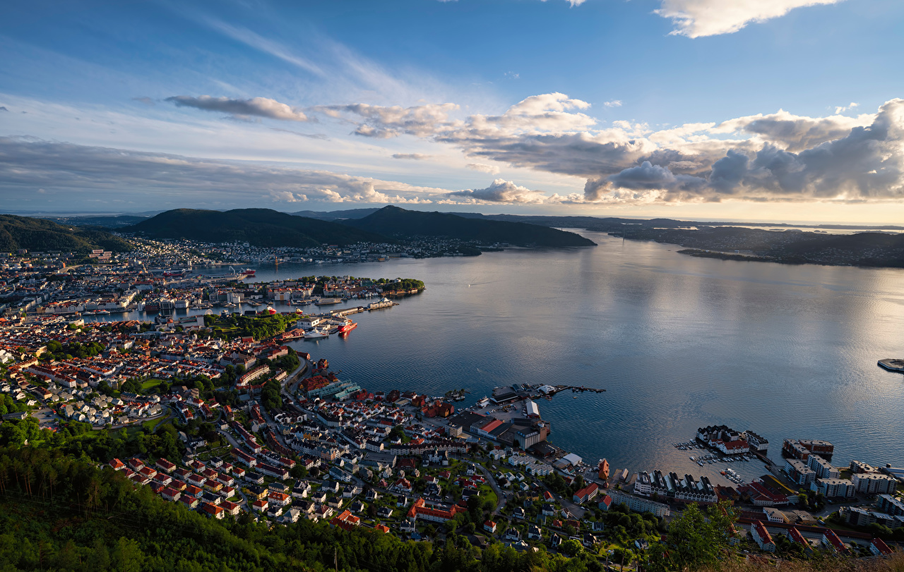 Image Bergen Norway fjord Mountains Sky From above Cities Houses mountain Building