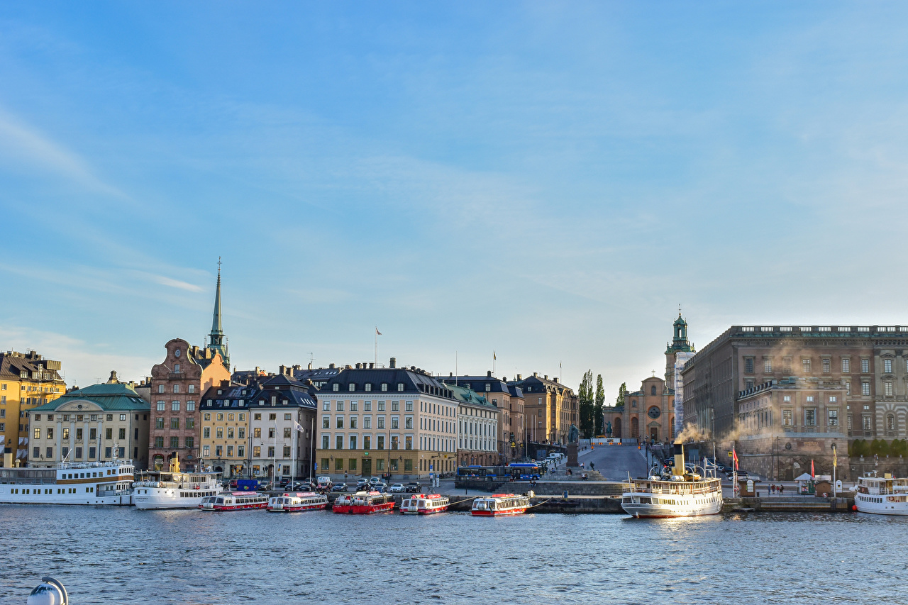 Images Stockholm Sweden Ships Bay Marinas Cities Building ship Pier Berth Houses