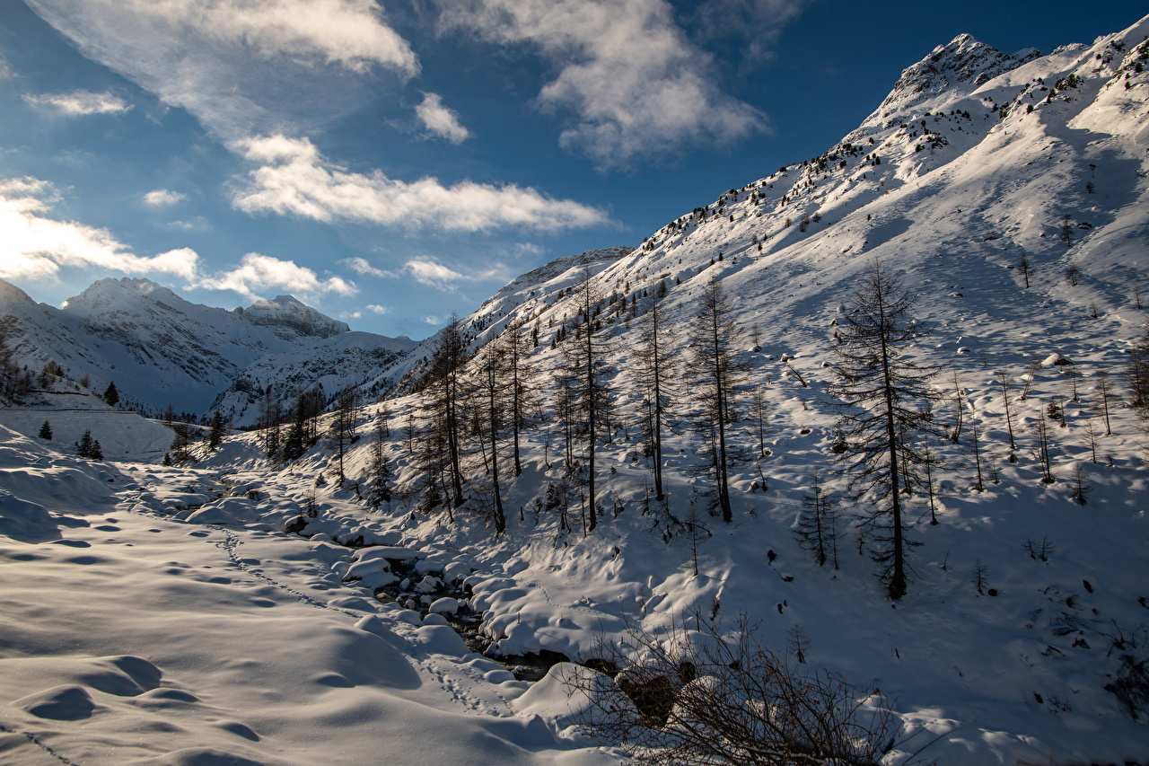 Image Alps Switzerland Sertigtal Nature Winter Mountains Snow mountain