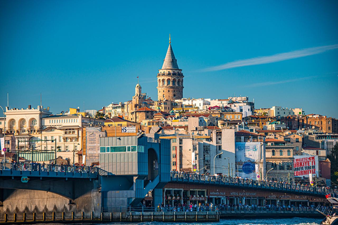 Desktop Hintergrundbilder Istanbul Türkei Turm Galata Tower Städte Gebäude Türme Haus
