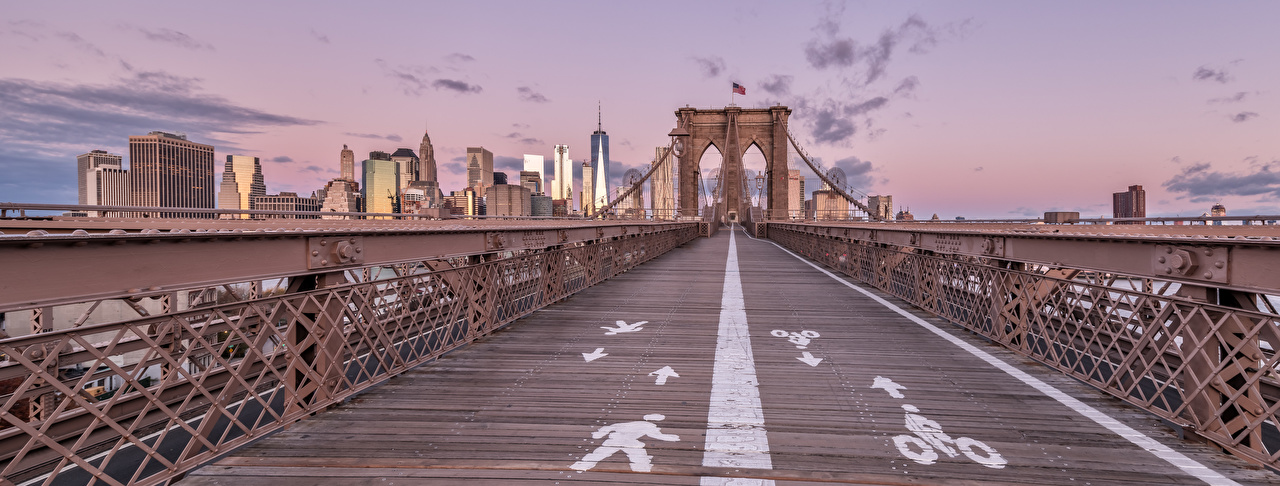 Desktop Wallpapers Cities panoramic USA Brooklyn Bridge bridge Houses New York City Panorama Bridges Building