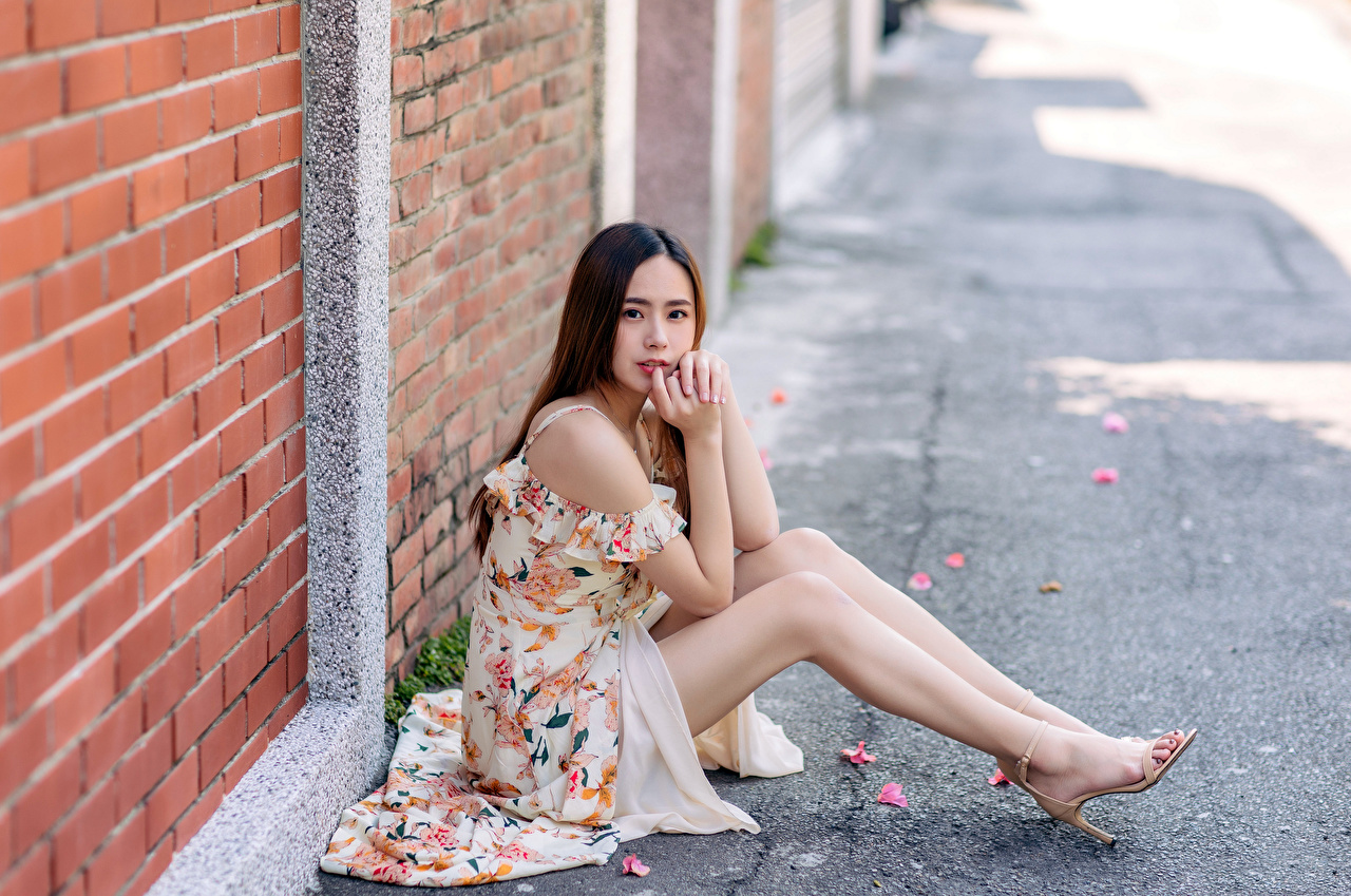 Photo Bokeh Girls Legs Asian Made of bricks walls Sitting Staring frock blurred background female young woman Asiatic sit Wall Glance gown Dress