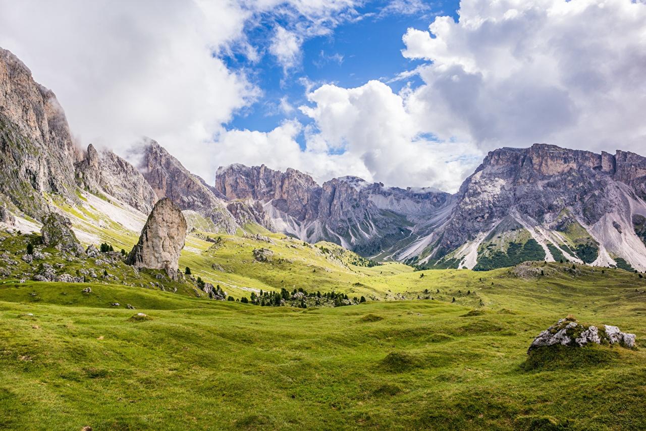 Bilder Alpen Italien Dolomite Alps, Bolzano Ein Tal Berg Natur Gras Wolke Gebirge