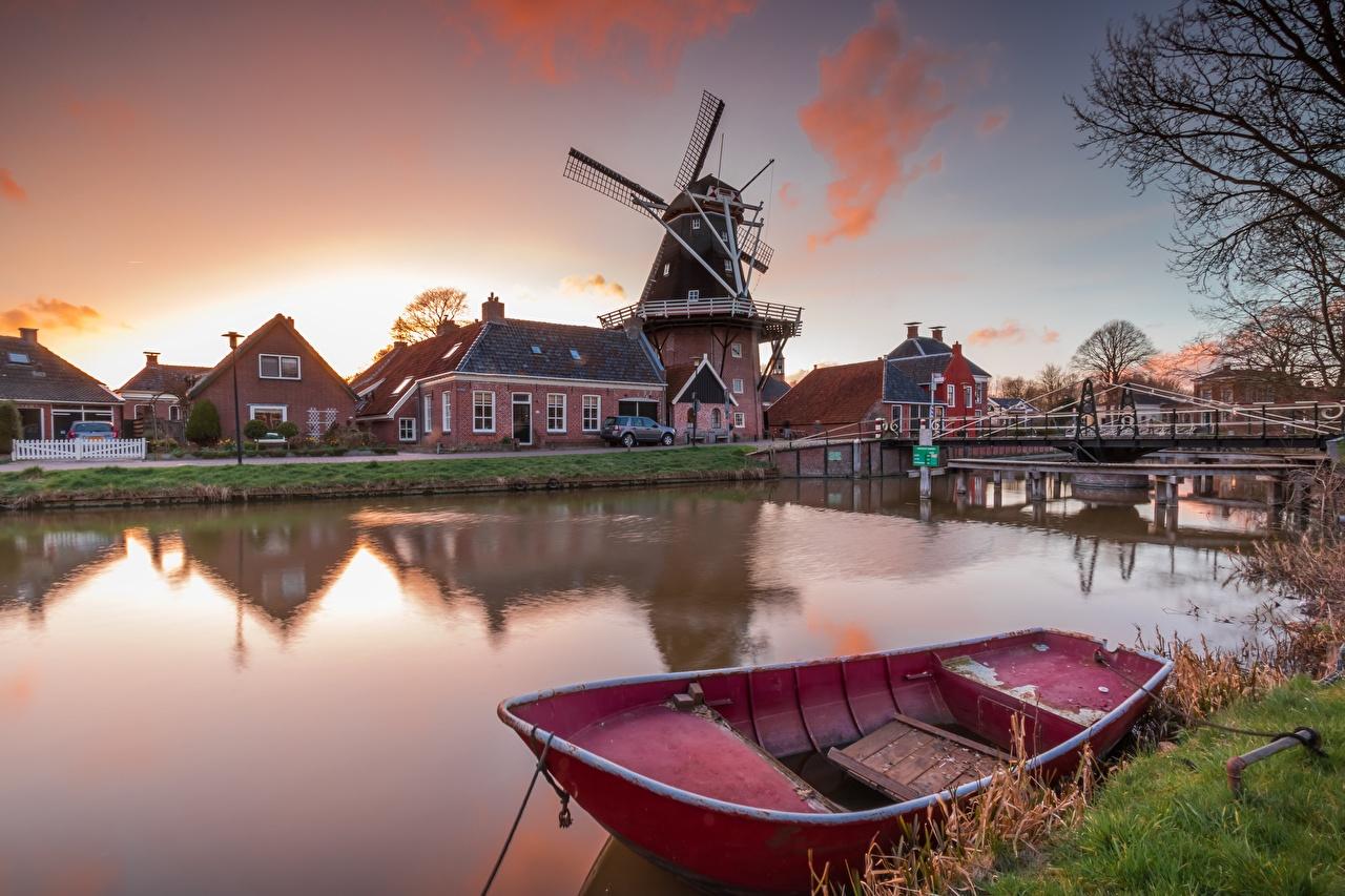 Image Netherlands windmills Groningen Canal bridge Nature Boats Building Mill windmill Bridges Houses