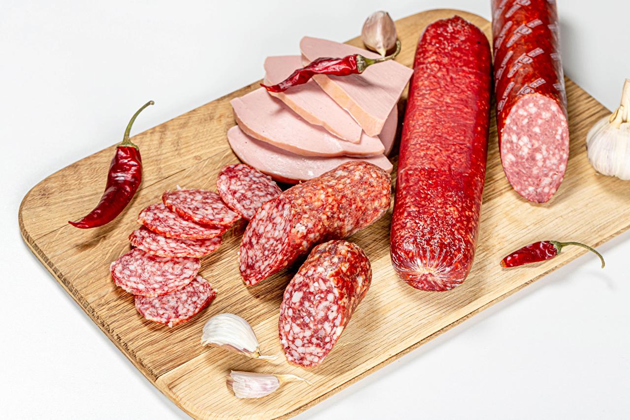 Wallpaper Sausage Chili pepper Allium sativum Food Sliced food Cutting board White background Garlic