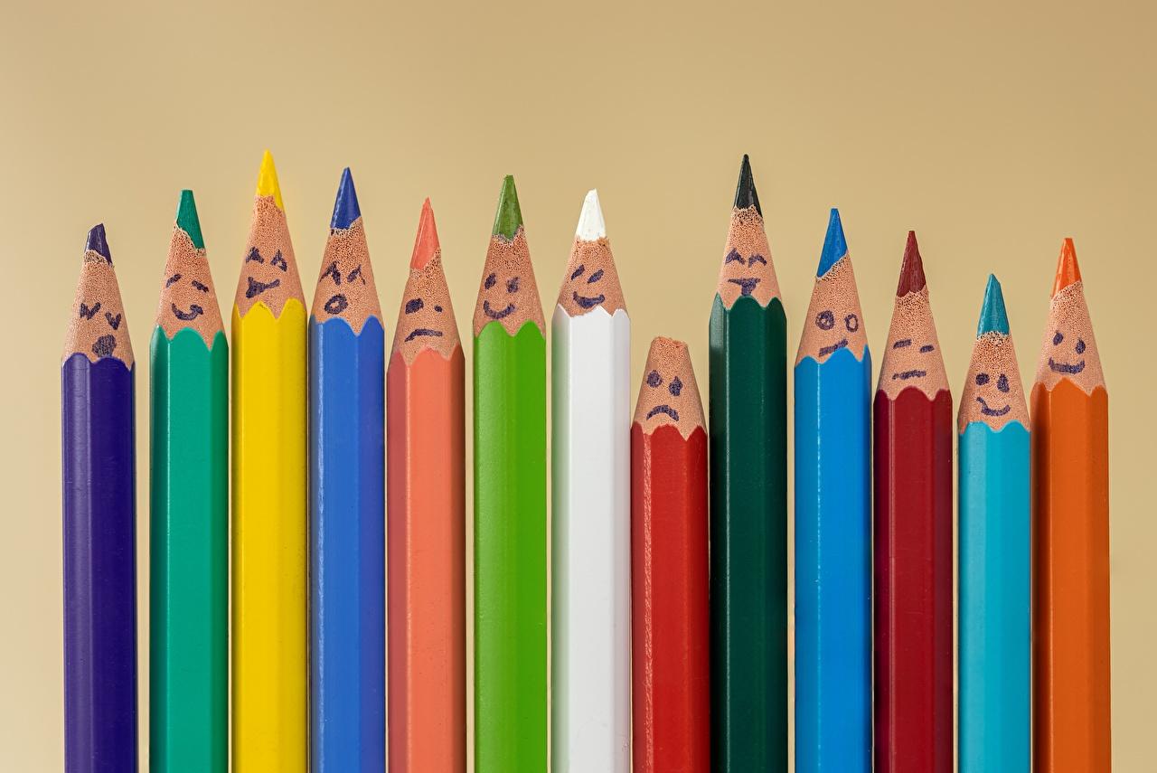 Sfondi del desktop smiley matite Multicolori Molte Sfondo colorato Faccine Matita colorate molti