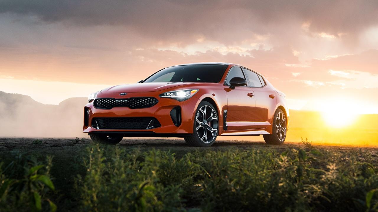 Photo KIA GTS Stinger 2020 Orange auto Cars automobile