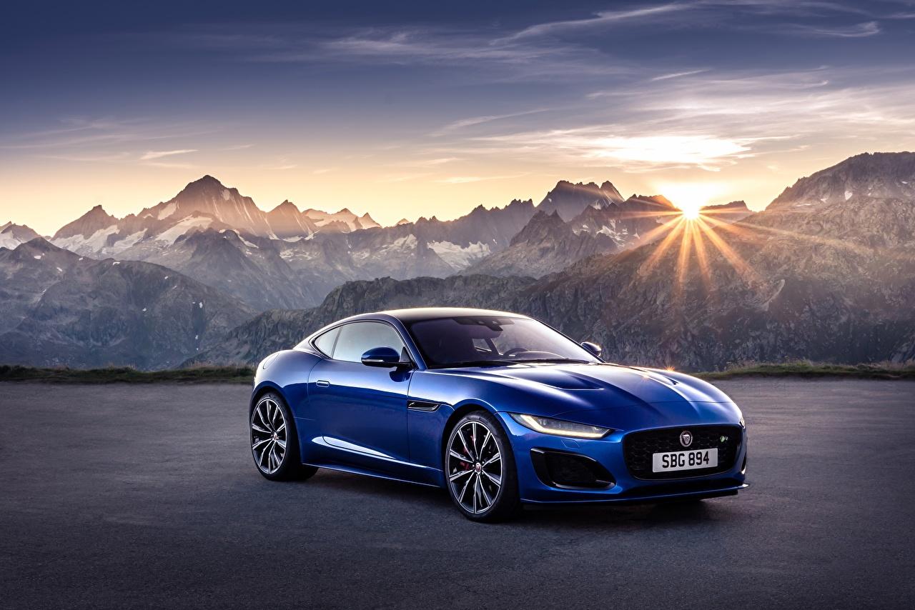Images Jaguar F-Type R, 2021 Coupe Sun Blue mountain Cars Metallic Mountains auto automobile