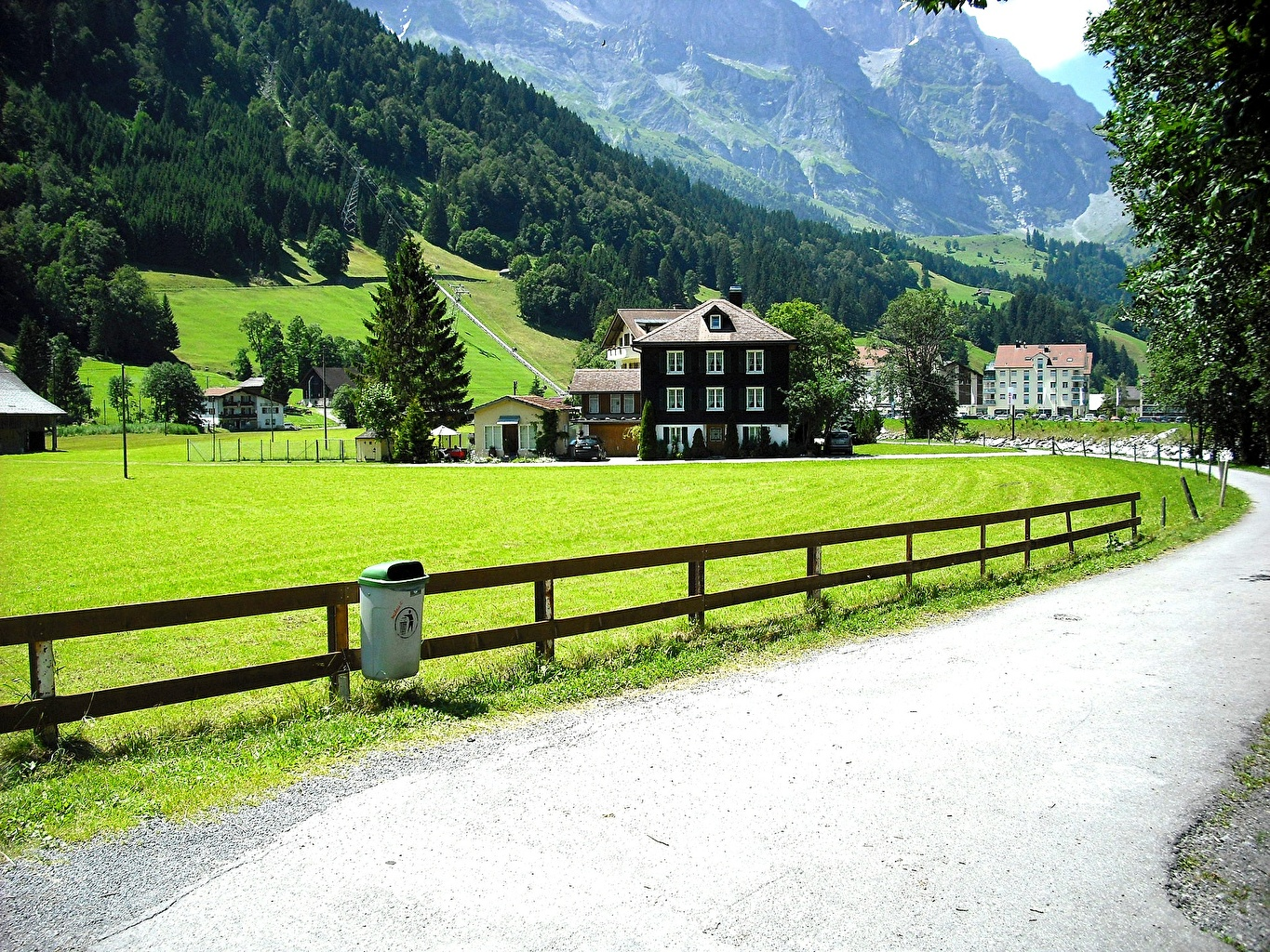 Photo Alps Switzerland Lucerne, Canton of Schwyz Roads Fence Cities Building Houses