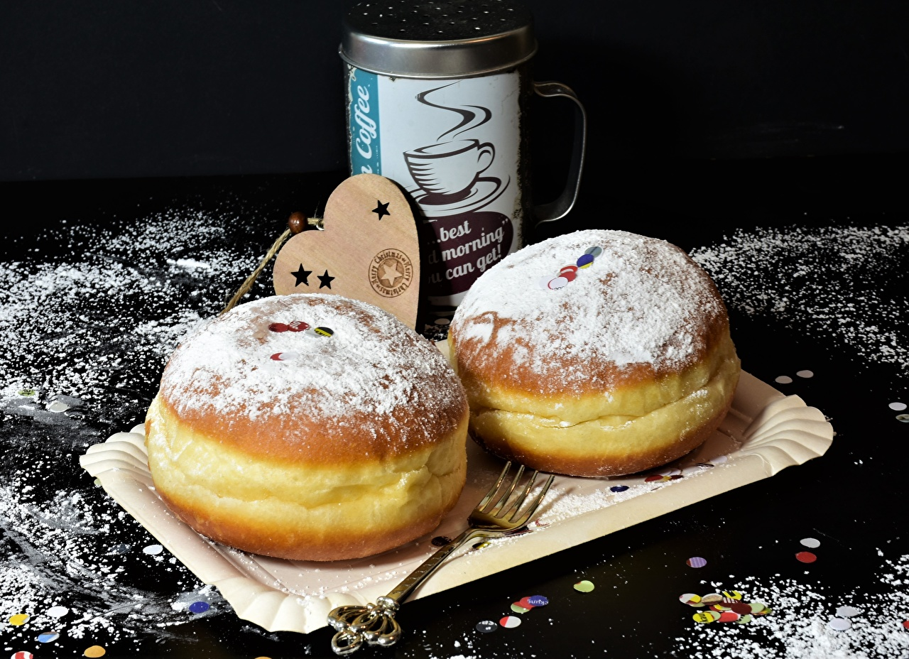 Images Heart Donuts Powdered sugar Food Fork Baking Doughnut Pastry