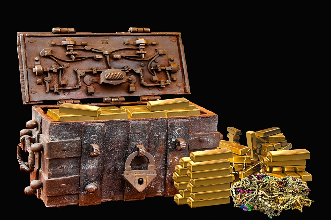 Photo Gold Treasure chest coffer Ingots Black background Jewelry