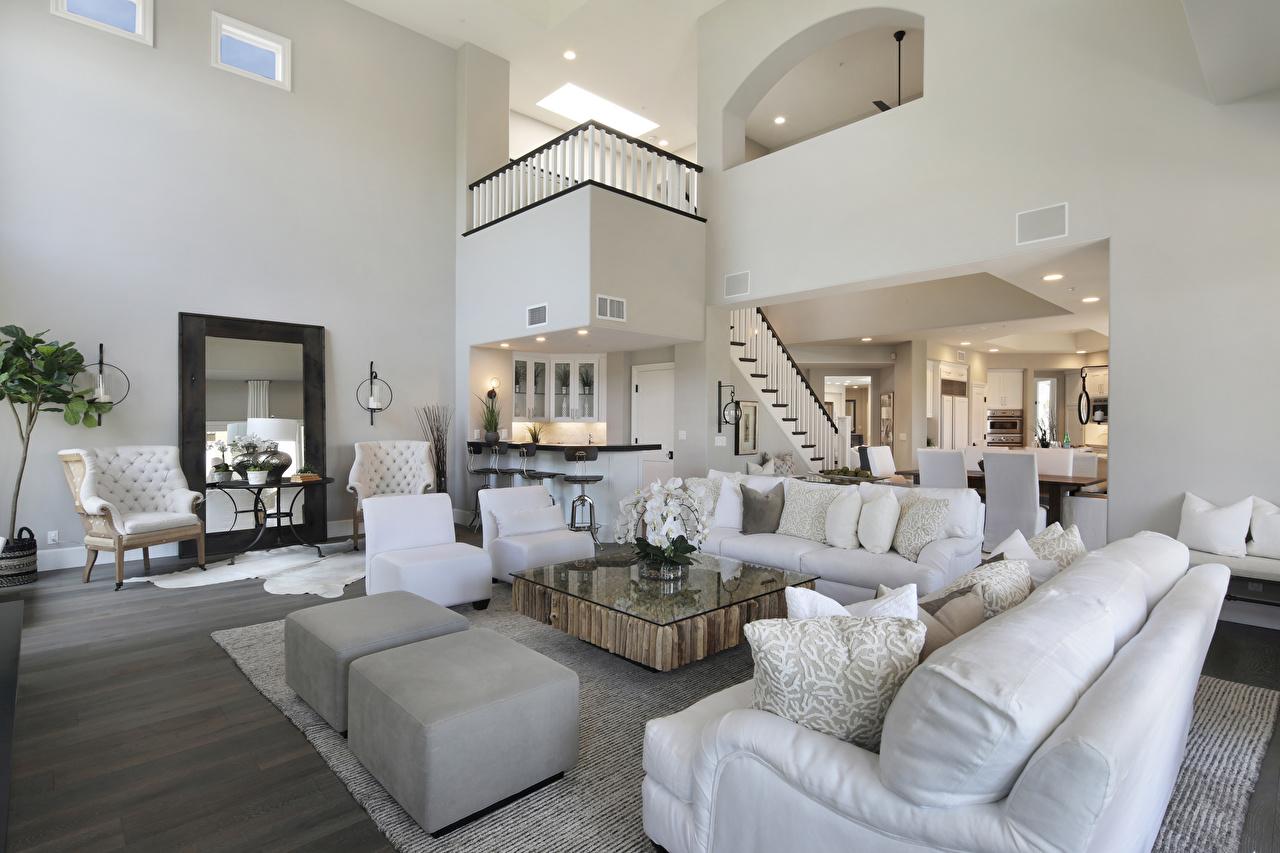 Fotos von Wohnzimmer Innenarchitektur Couch Sessel Kissen Design