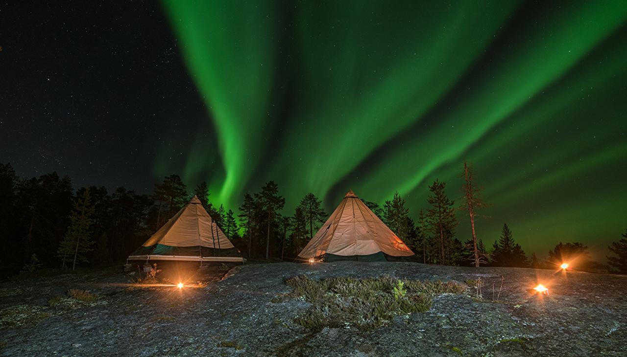 、ラッピ県、フィンランド、空、恒星、オーロラ、夜、テント、自然、