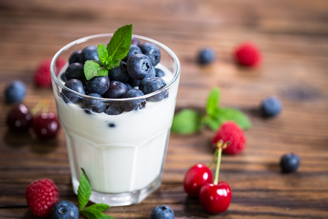 Image Yogurt Blueberries Highball glass Food