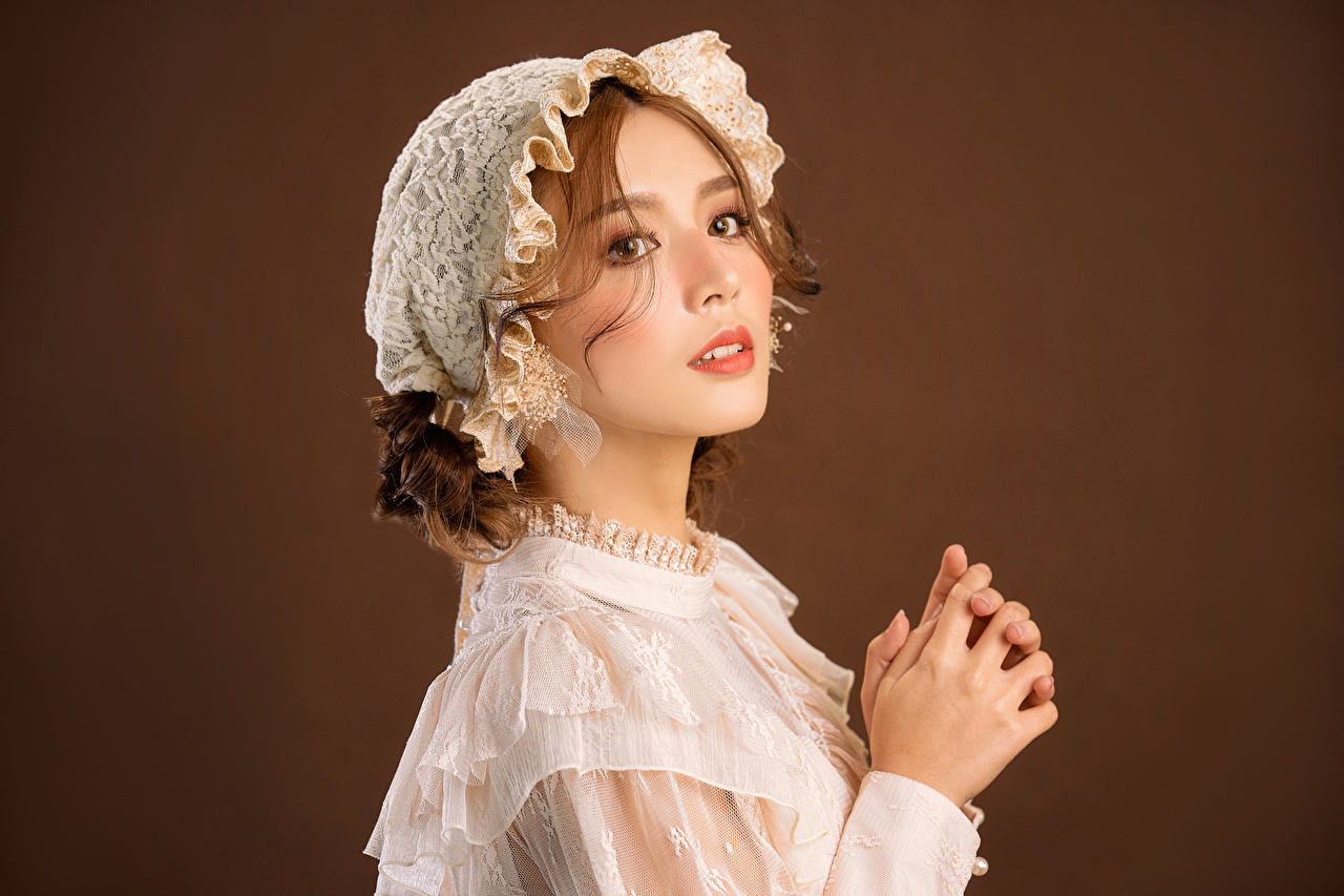 Photo Retro female Asian Hands Glance Dress Girls vintage antique young woman Asiatic Staring gown frock