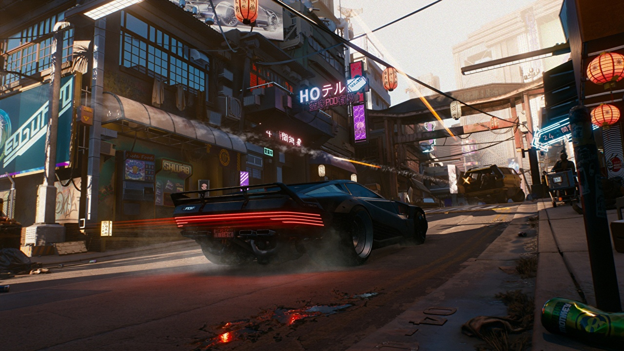 Desktop Wallpapers Cyberpunk 2077 3d Graphics Street Vdeo Game Cars