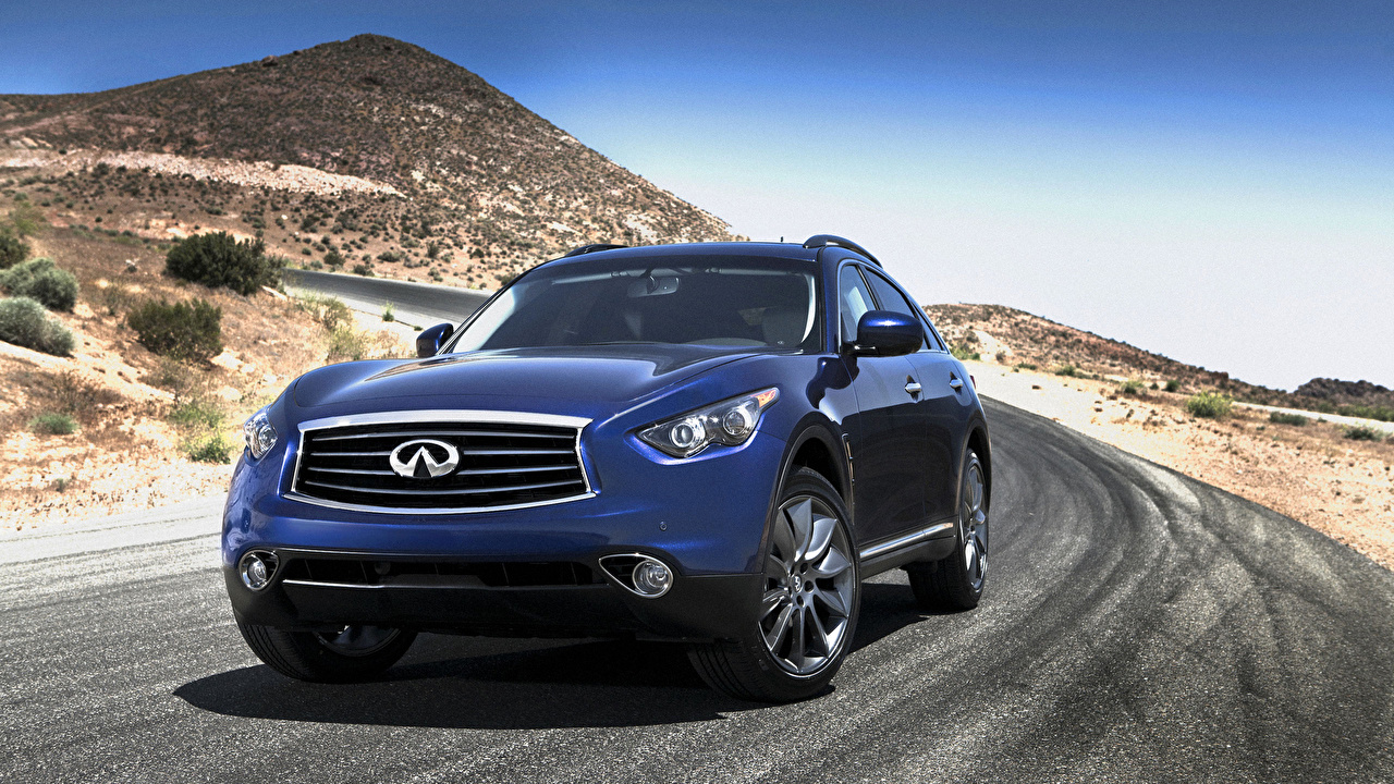 Images Cars Infiniti FX35 SUV Blue mountain auto automobile Mountains Sport utility vehicle