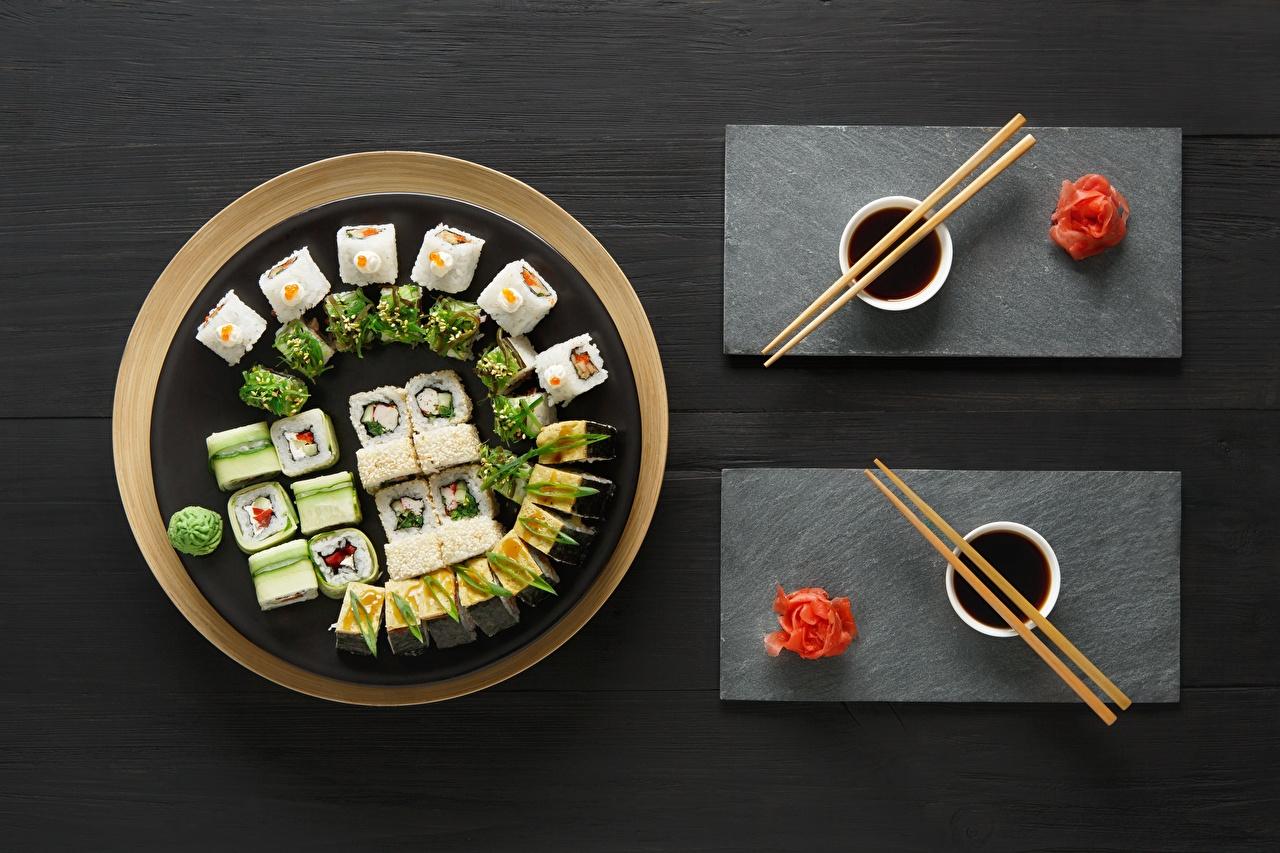 Photo Ginger Soy sauce Sushi Food Chopsticks soya sauce