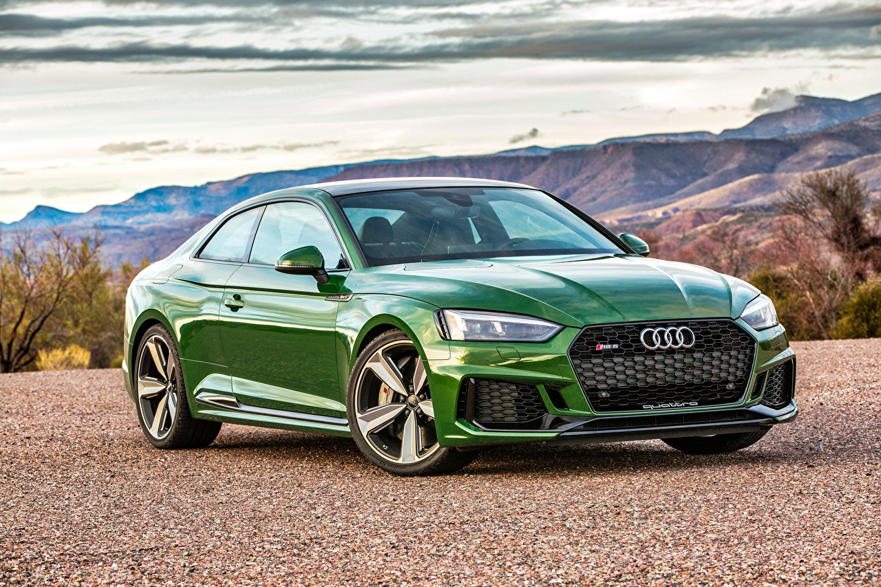 Images Audi Coupe RS 5 Green auto Cars automobile