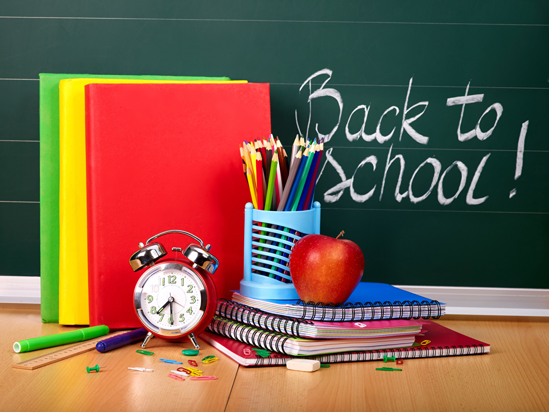 Image School English Pencils Clock Notebooks Apples Alarm clock Book pencil books