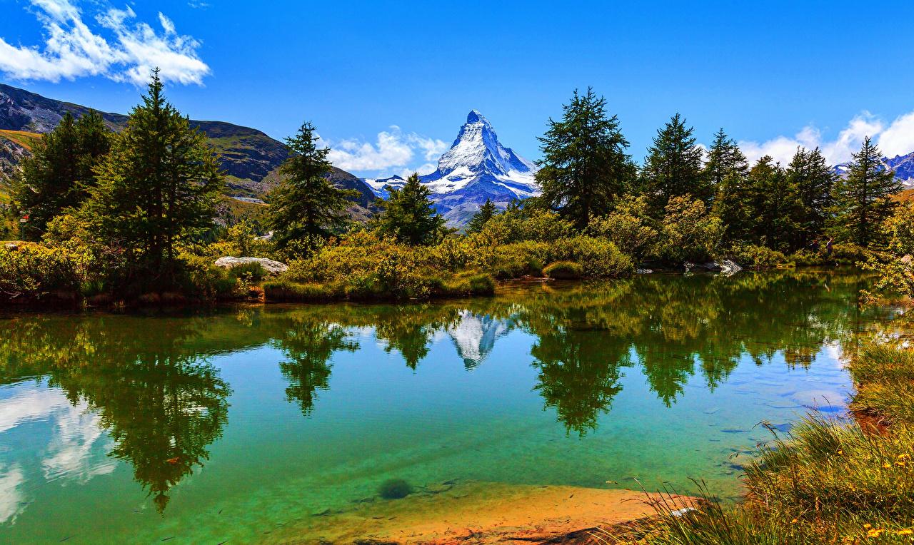 Pictures Alps Switzerland Zermatt Nature Spruce Mountains Lake Bush Shrubs