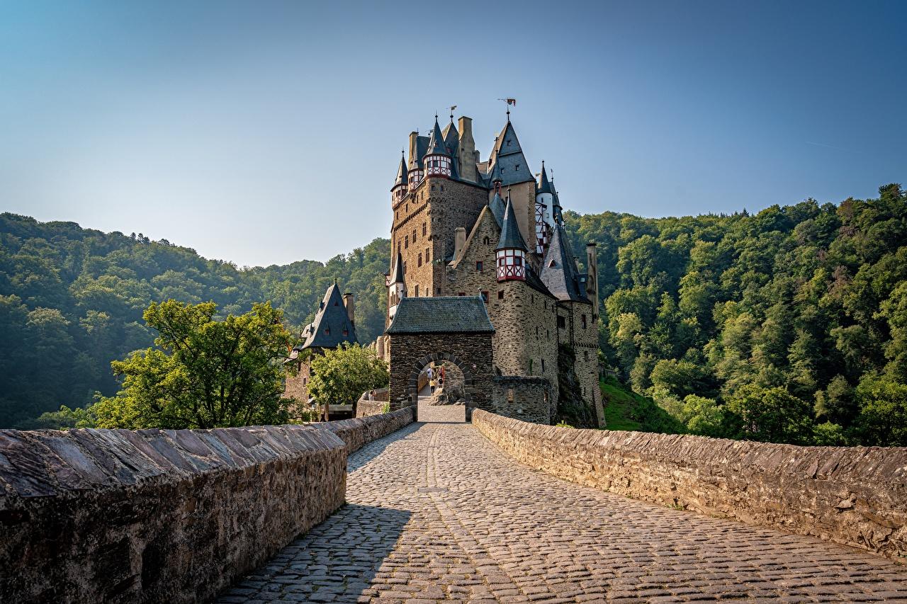 Images Germany Tower Eltz Castle, Wierschem castle Nature Bridges Mountains Forests towers bridge Castles mountain forest