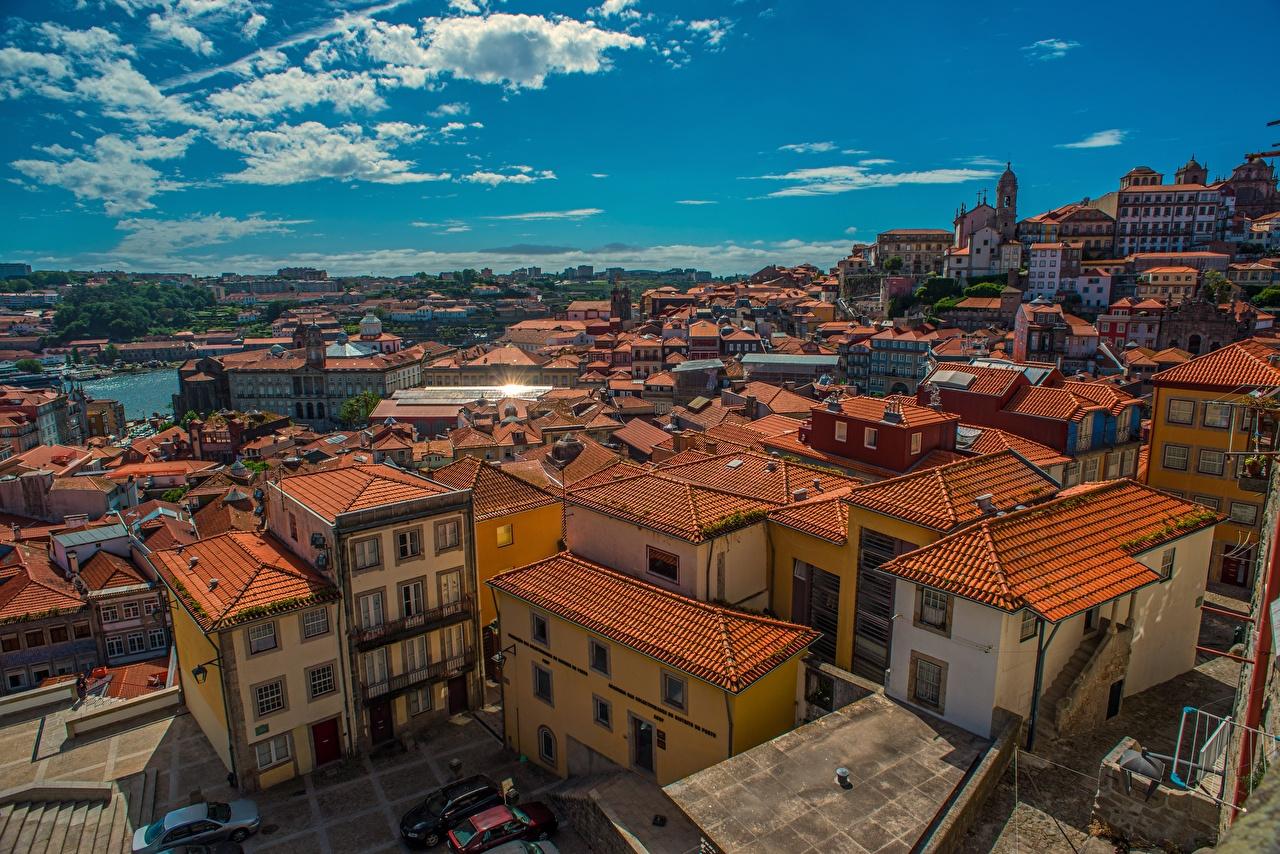 Фото Порту Португалия Крыша Дома город Портус Кале краши крыше Здания Города