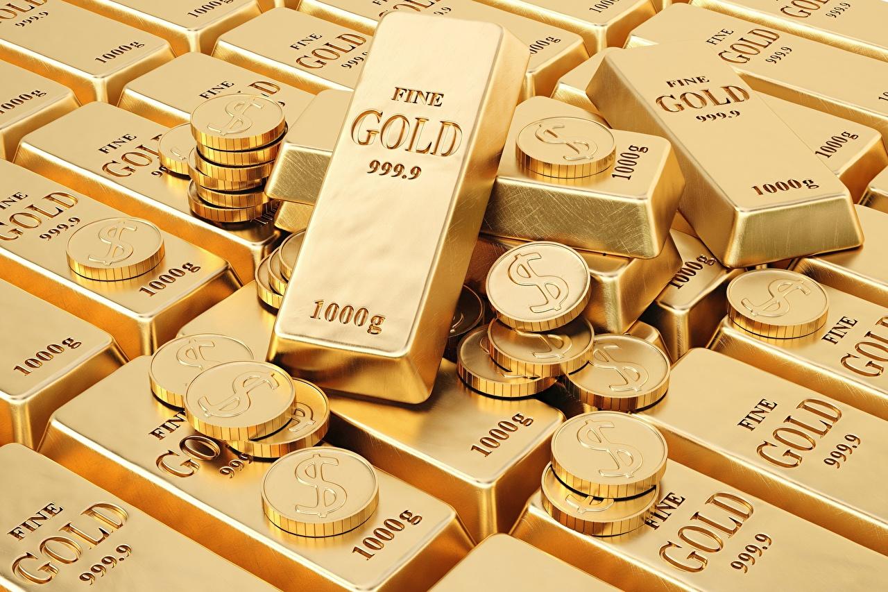 Desktop Hintergrundbilder Münze Gold 3D-Grafik Barren Metall