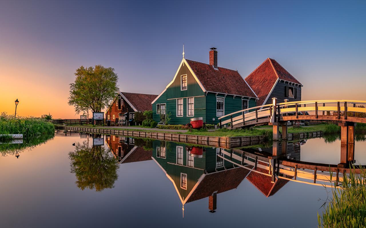 Images Netherlands Zaanse Schans Canal bridge Nature Reflection Houses Bridges reflected Building
