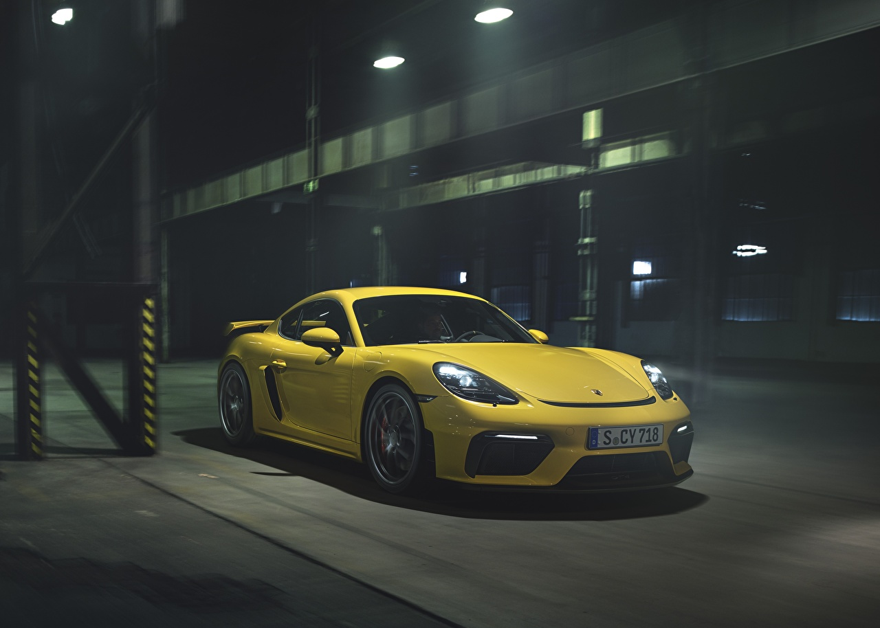Wallpaper Porsche Cayman GT4 718 Yellow auto Cars automobile