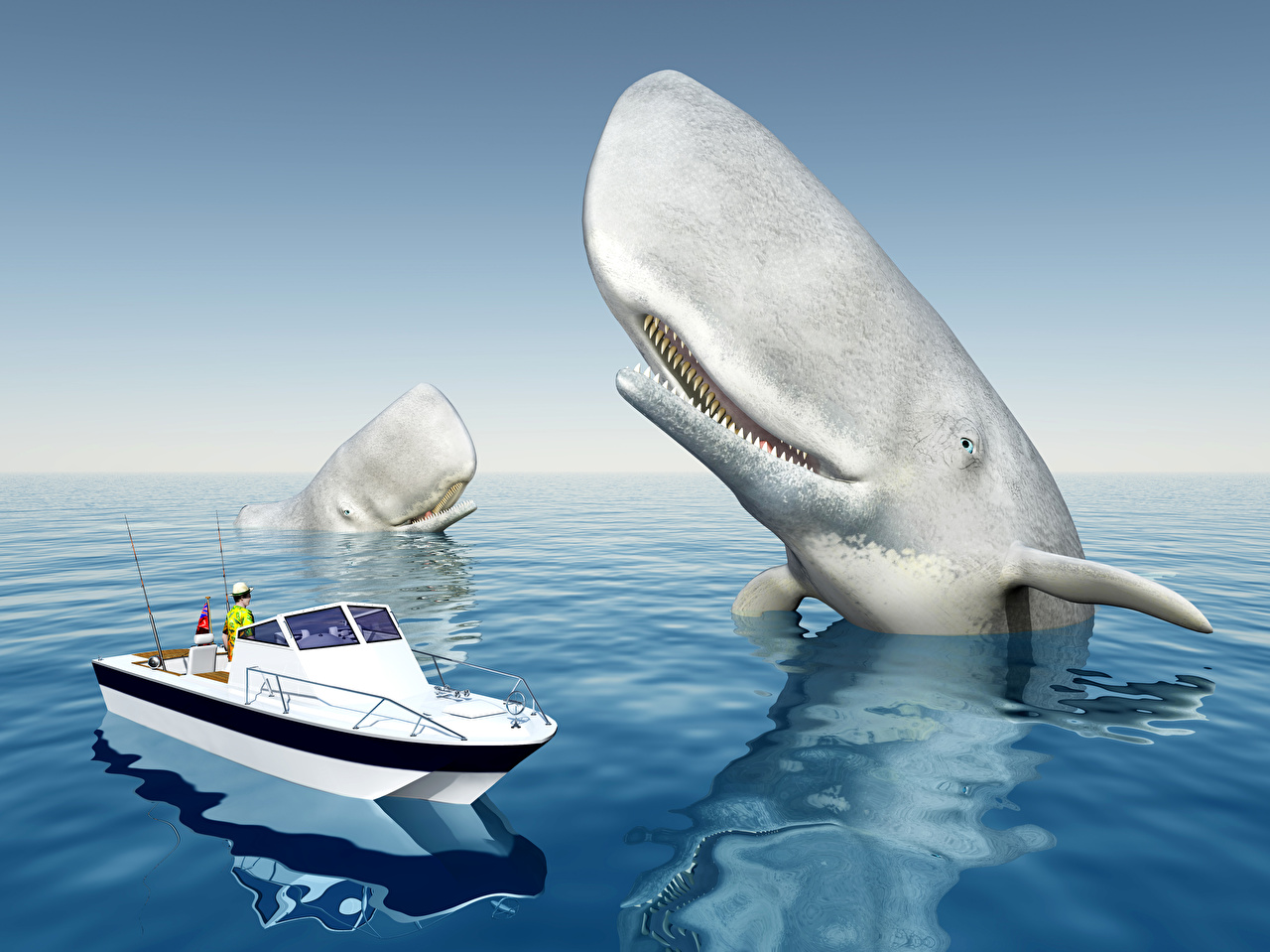 Pictures 3D Graphics Sea powerboat Whale speedboat Motorboat