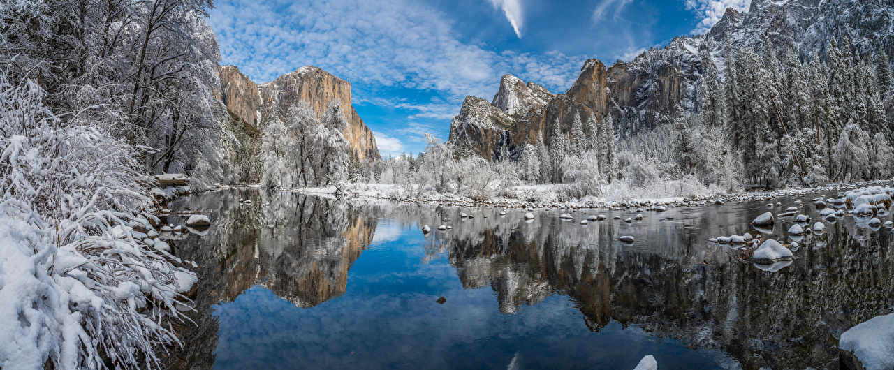 Picture Yosemite USA Winter Nature Mountains Lake Parks reflected landscape photography Trees mountain park Scenery Reflection