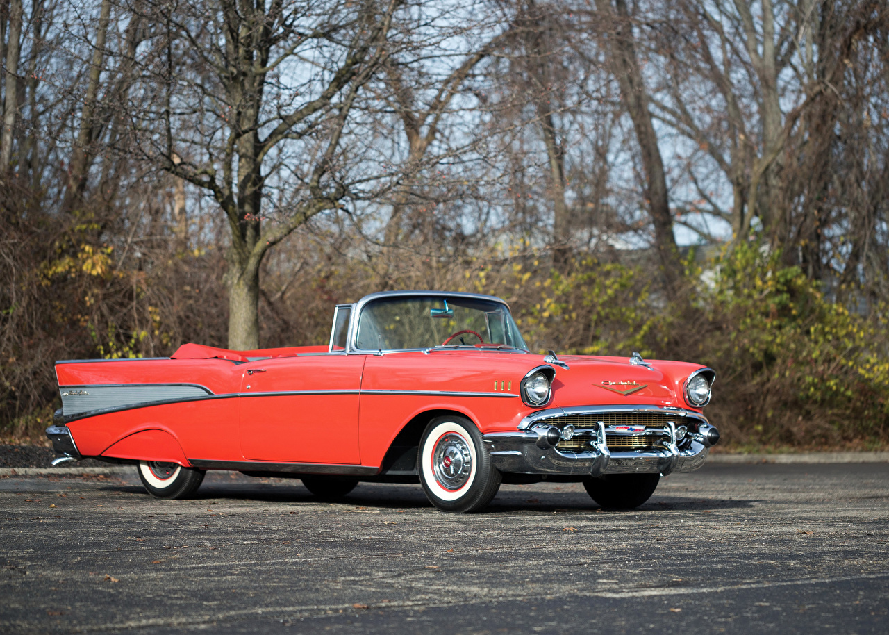 Image Chevrolet 1957 Bel Air Convertible Cabriolet Retro Pink Color