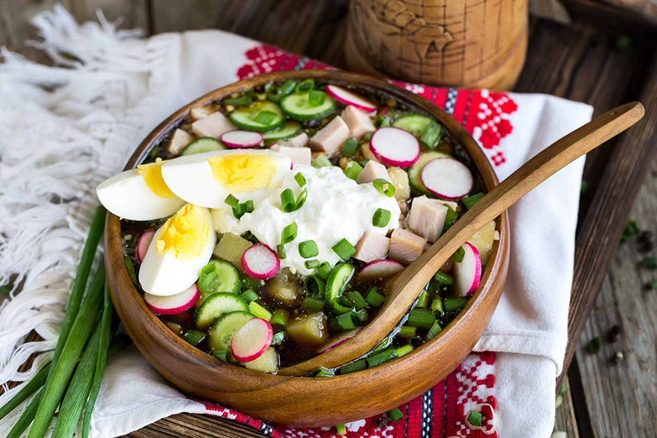 Pictures soured cream egg Radishes Cucumbers Food Soups Sour cream Eggs