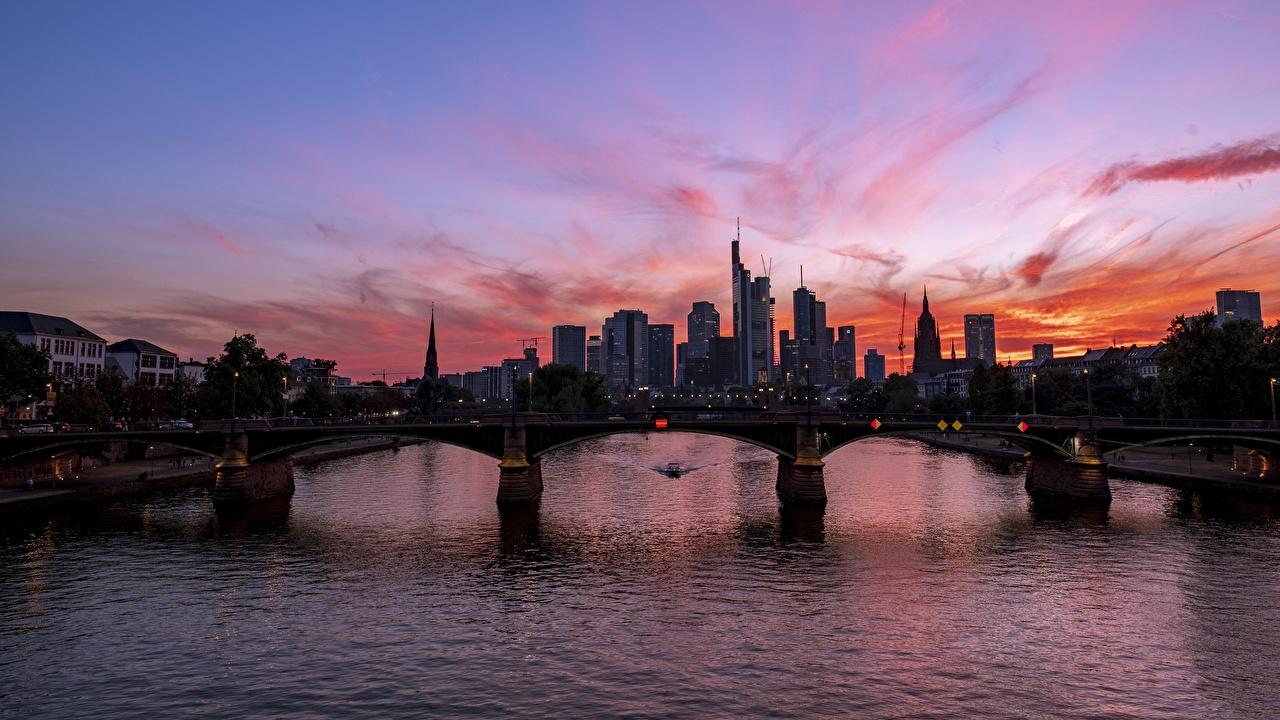 Photos Frankfurt Germany Main river bridge sunrise and sunset Rivers Skyscrapers Cities Bridges Sunrises and sunsets