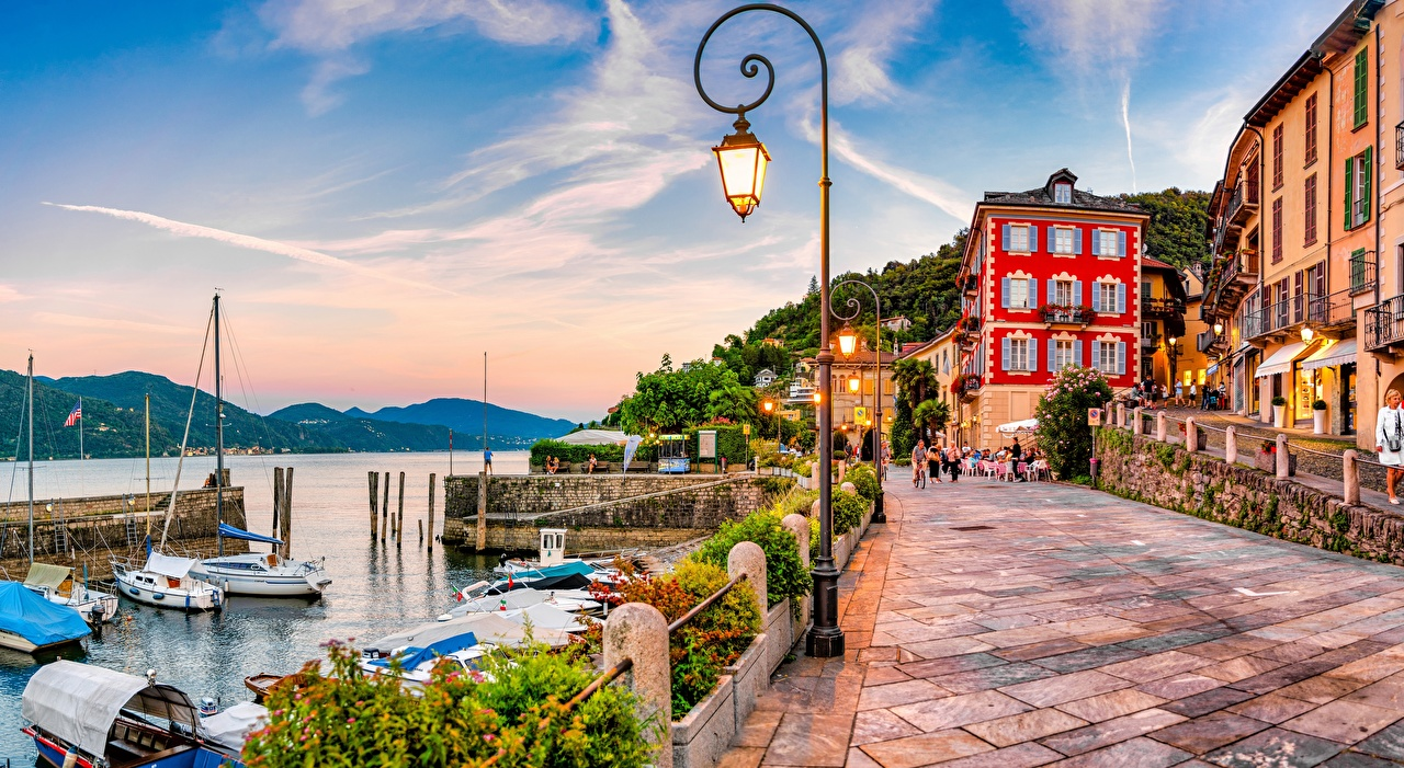 Images Italy Lake Maggiore, Cannobio Waterfront Street lights Houses Cities Building