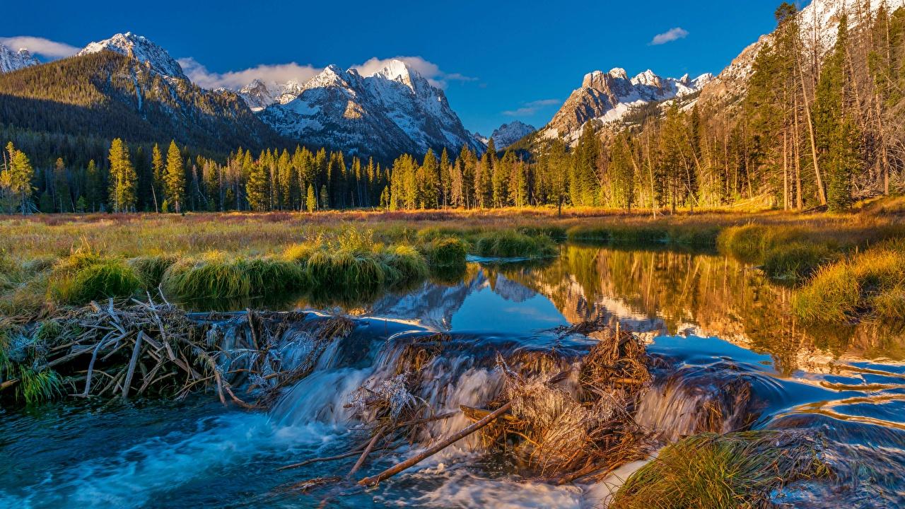 Fotos von USA Talsperre Sawtooth National Forest Natur Gebirge Wald Landschaftsfotografie Fluss Vereinigte Staaten Berg Wälder Flusse