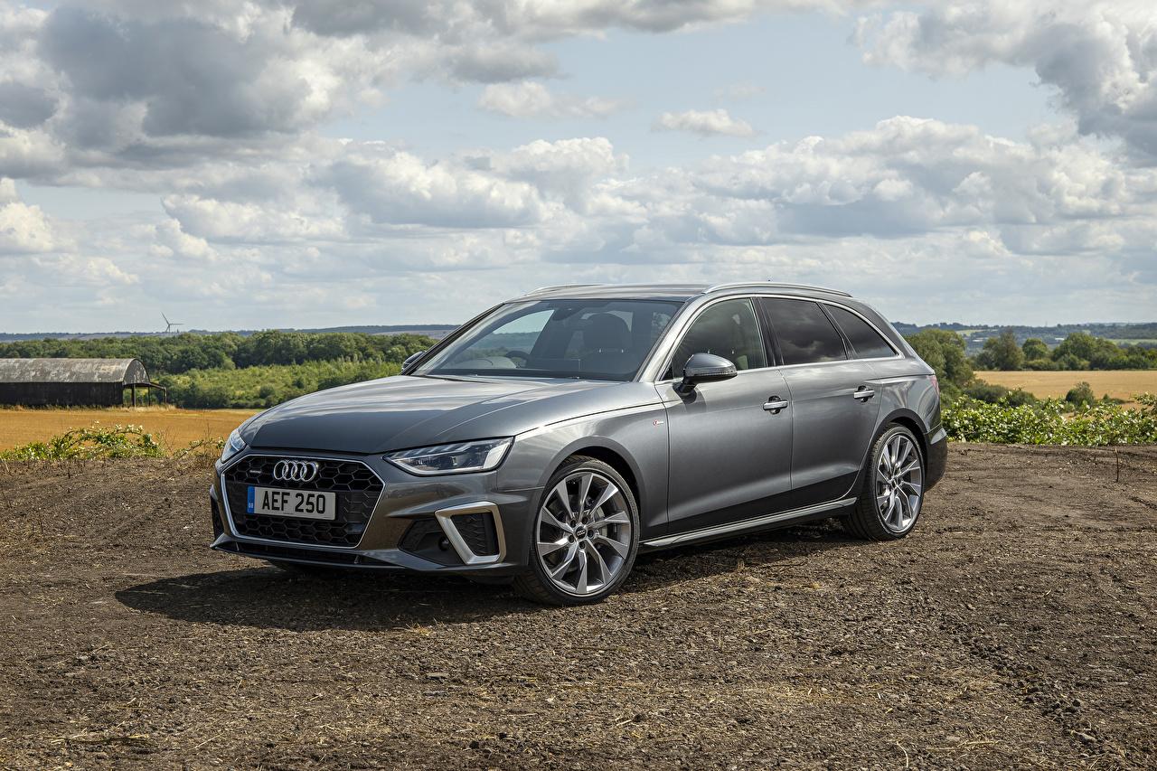 Photo Audi Estate car 2019 A4 Avant 40 TDI S line quattro Grey Cars Station wagon gray auto automobile