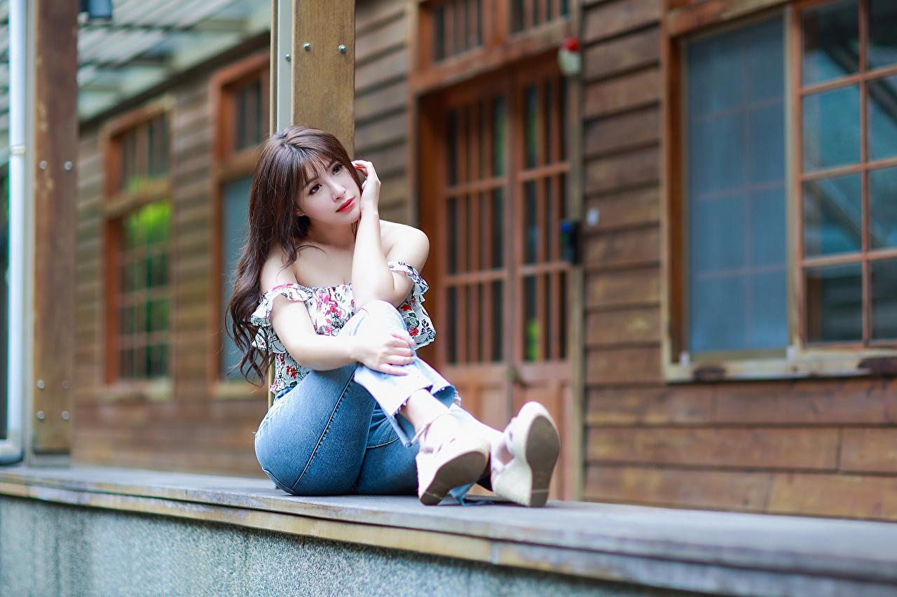 Fotos von Bluse junge Frauen Jeans Asiaten Sitzend Mädchens junge frau Asiatische asiatisches sitzt sitzen