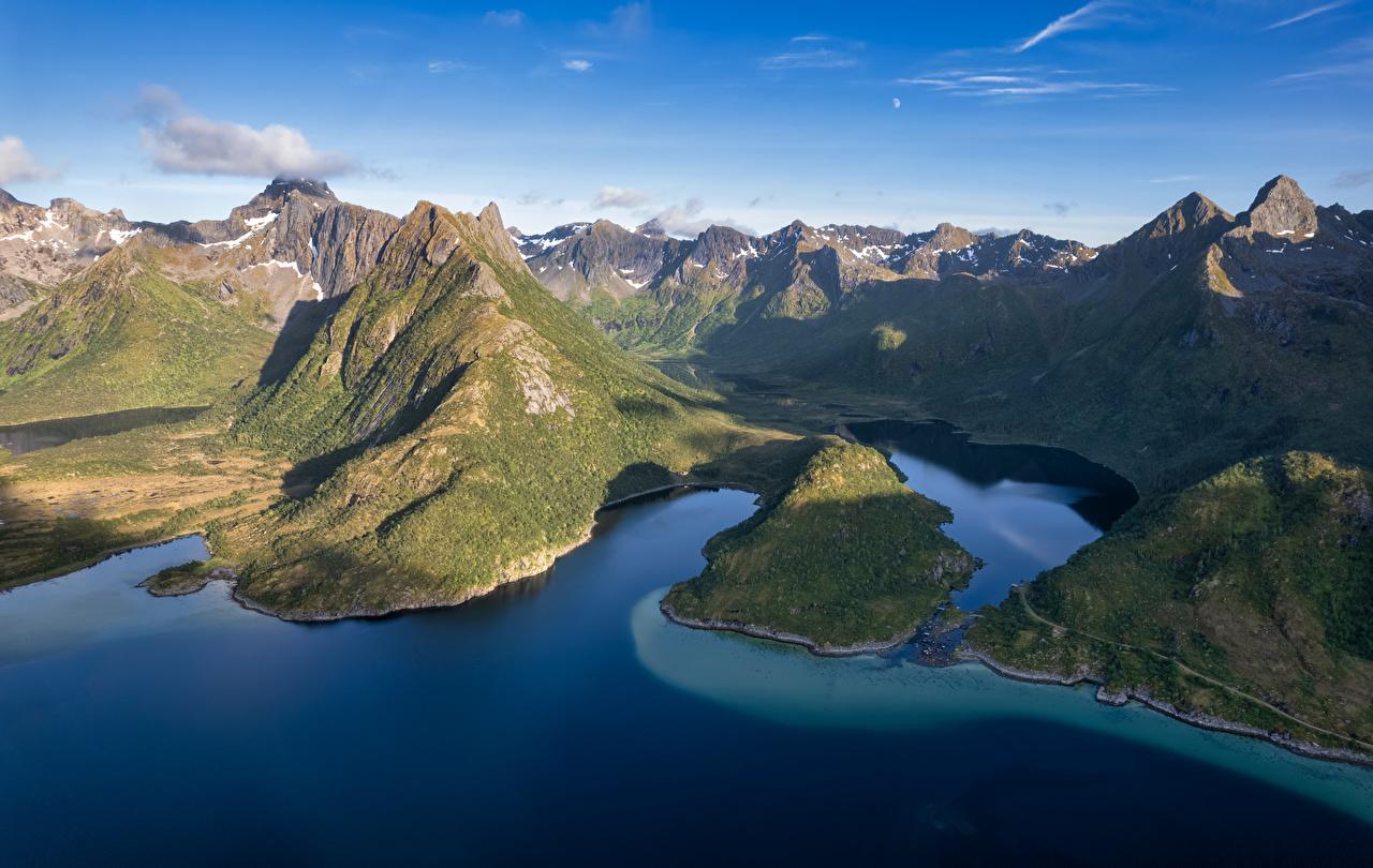 Desktop Hintergrundbilder Lofoten Norwegen Fjord Natur Gebirge Berg