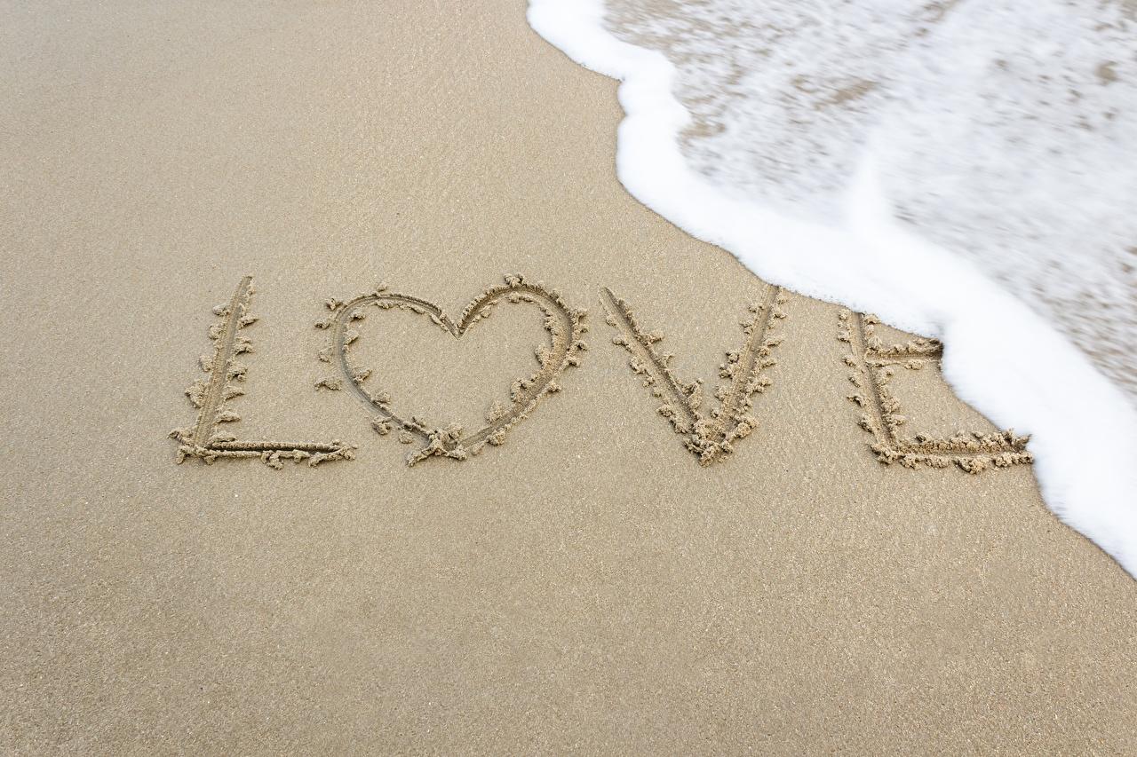 Fotos von englische Herz Natur Liebe Wort Sand Schaum Englisch englisches englischer text
