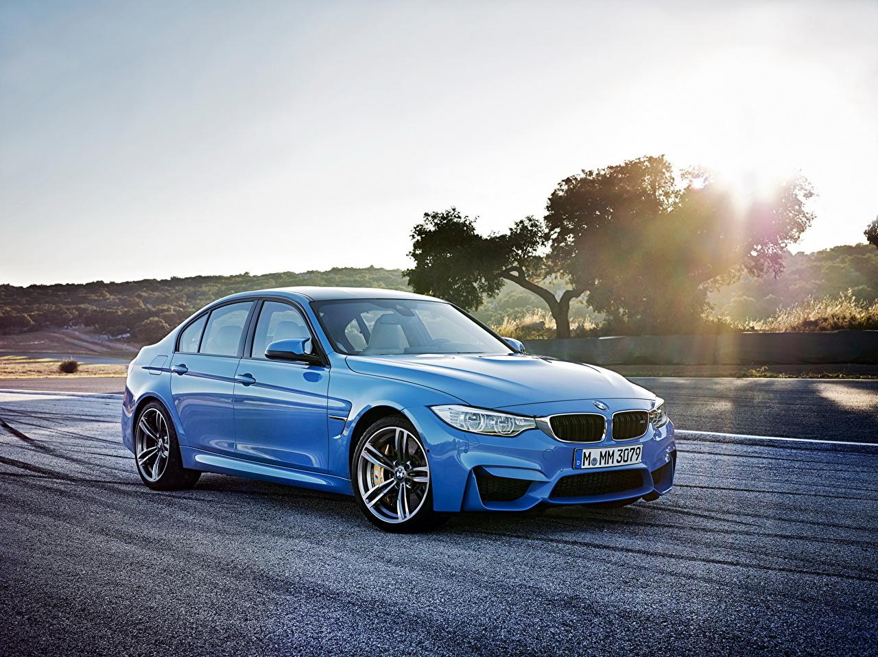 Image BMW 2014 M3 Light Blue Roads Cars auto automobile